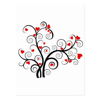 Valentine love tree with red hearts postcard