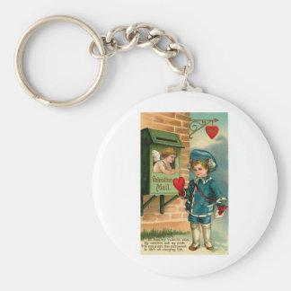 Valentine Mail Basic Round Button Key Ring