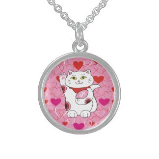 Valentine Maneki Neko Lucky Cat Sterling Silver Necklace