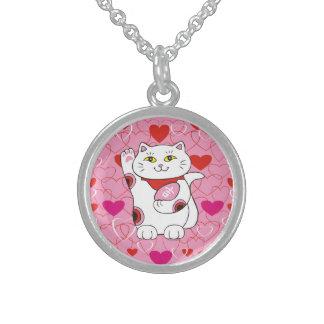 Valentine Maneki Neko Lucky Cat Round Pendant Necklace