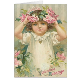 Valentine Message Girl With Flowers Cards, Gifts Greeting Card