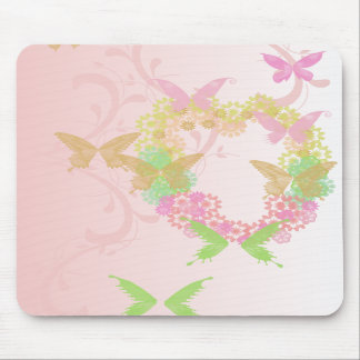 Valentine Mouse Pad with Flowers and Butterflies