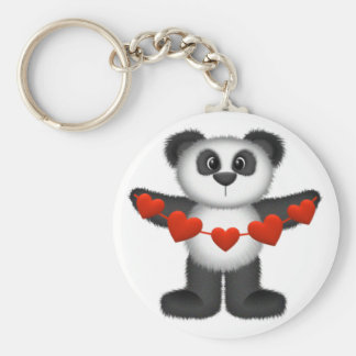 Valentine Panda Bear Holding String of Red Hearts Basic Round Button Key Ring