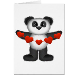 Valentine Panda Bear Holding String of Red Hearts Greeting Card