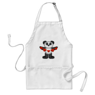 Valentine Panda Bear Holding String of Red Hearts Standard Apron