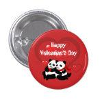 Valentine Panda Hearts Custom Button