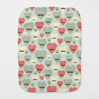 Valentine pattern with heart and mustache burp cloth