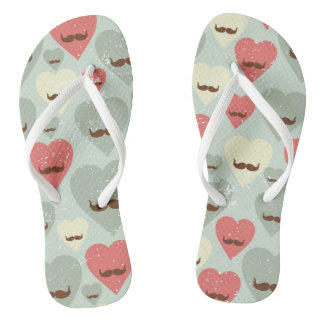 Valentine pattern with heart and mustache flip flops