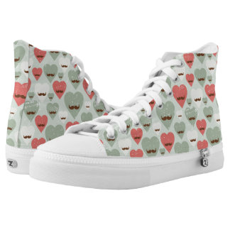 Valentine pattern with heart and mustache high tops