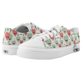 Valentine pattern with heart and mustache low tops