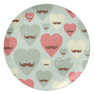 Valentine pattern with heart and mustache party plate
