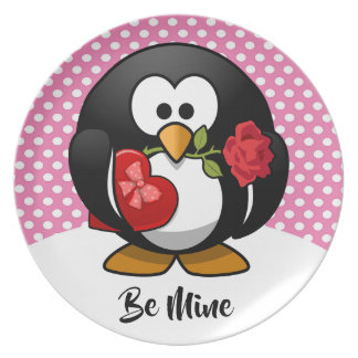 Valentine Penguin with Chocolate and Roses Gift Plate