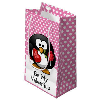 Valentine Penguin with Chocolate and Roses Pink Small Gift Bag