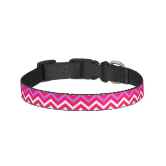 Valentine Pink and Red Wavy Chevron ZigZag Pattern Pet Collar