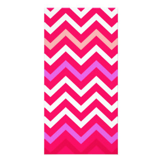 Valentine Pink and Red Wavy Chevron ZigZag Pattern Personalized Photo Card