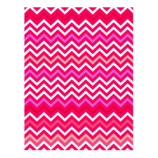Valentine Pink and Red Wavy Chevron ZigZag Pattern Post Card