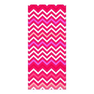 Valentine Pink and Red Wavy Chevron ZigZag Pattern Rack Card