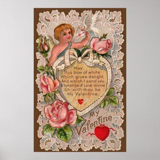 Valentine Poem With Cupid Print