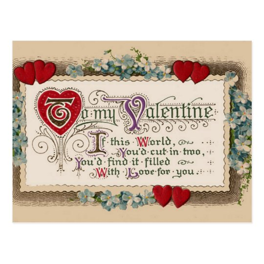 Valentine Poem With Hearts Postcard
