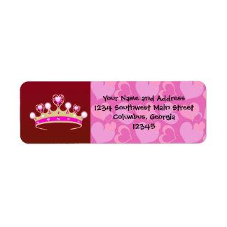Valentine Princess Return Address Label