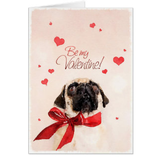 Valentine Pug Stationery Note Card