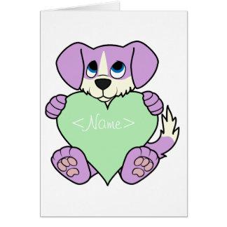 Valentine Purple Dog - Blaze & Light Green Heart Greeting Card