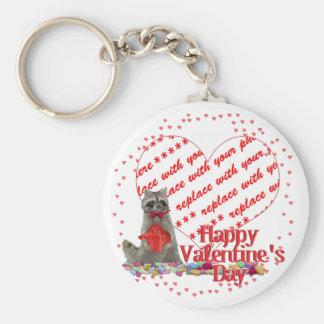"""Valentine  Raccoon """"Bandit"""" Photo Frame Keychains"""