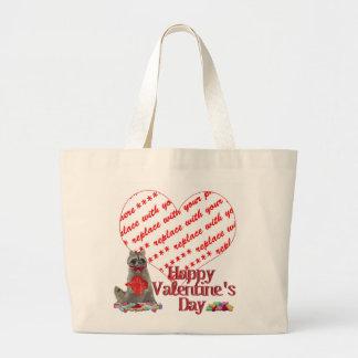 "Valentine  Raccoon ""Bandit"" Photo Frame Jumbo Tote Bag"