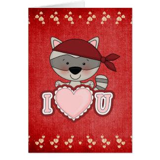 Valentine Raccoon card