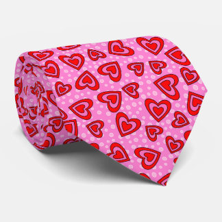 Valentine Red and Pink Heart Tie