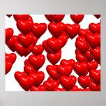 Valentine Red Hearts Random Bunch Glossy Poster