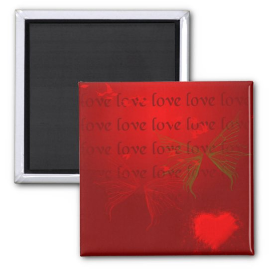 Valentine Red Hearts Square Magnet