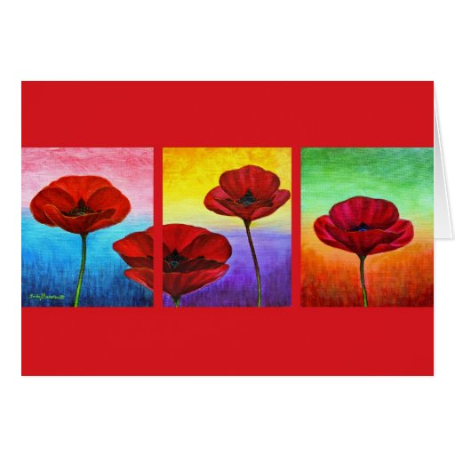 Valentine Red Poppies Painting - Multi Cards