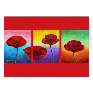 Valentine Red Poppies Painting - Multi Greeting Card