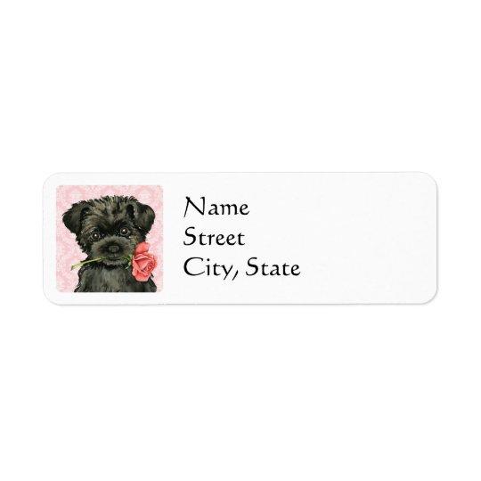Valentine Rose Affenpinscher Return Address Label