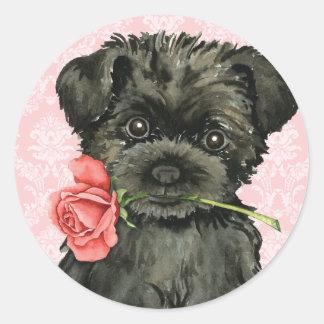 Valentine Rose Affenpinscher Round Sticker