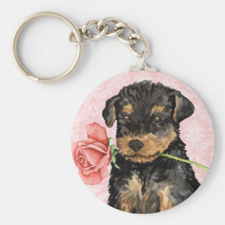 Valentine Rose Airedale Basic Round Button Key Ring