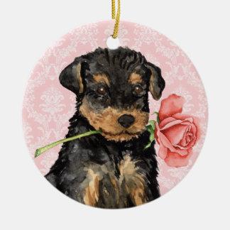 Valentine Rose Airedale Round Ceramic Decoration
