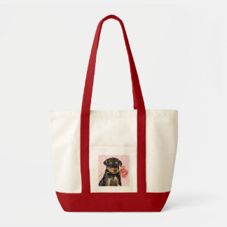 Valentine Rose Airedale Tote Bag