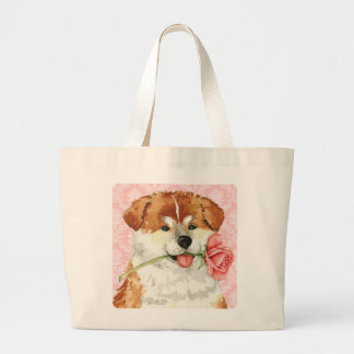 Valentine Rose Akita Large Tote Bag