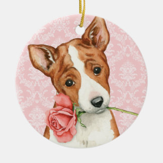 Valentine Rose Basenji Round Ceramic Decoration