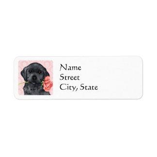 Valentine Rose Black Lab Return Address Label