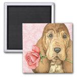 Valentine Rose Bloodhound Square Magnet