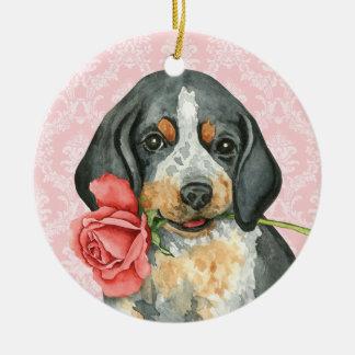 Valentine Rose Bluetick Christmas Ornament