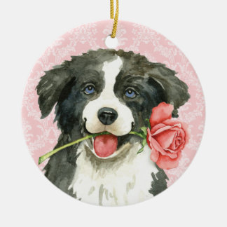 Valentine Rose Border Collie Christmas Ornament
