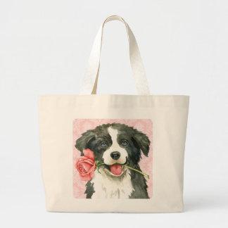 Valentine Rose Border Collie Large Tote Bag
