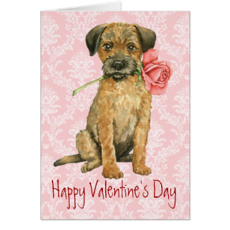 Valentine Rose Border Terrier Greeting Card