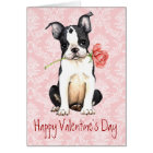 Valentine Rose Boston Terrier Card