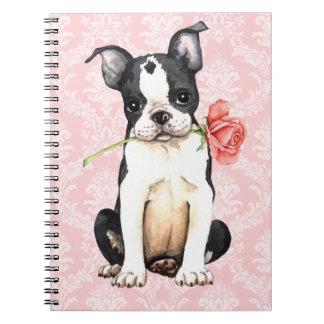 Valentine Rose Boston Terrier Spiral Note Books