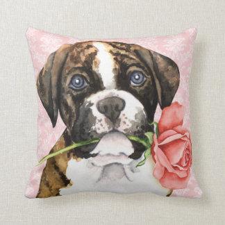 Valentine Rose Boxer Throw Pillow
